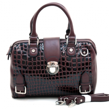 Dasein Women's Patent Croco Chic Satchel with Belt & Buckle Accents-Coffee