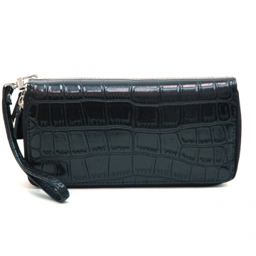 Dasein Fashion Matte Croco Dual Zip Compartment Wallet with Wristlet Strap-Black