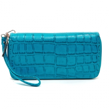 Dasein Fashion Matte Croco Dual Zip Compartment Wallet with Wristlet Strap-Blue