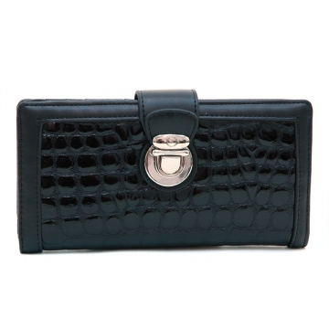 Dasein Fashion Patent Croco Bi-fold Checkbook Wallet with Buckle Accent-Black