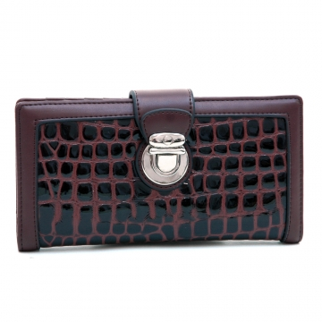 Dasein Fashion Patent Croco Bi-fold Checkbook Wallet with Buckle Accent-Coffee
