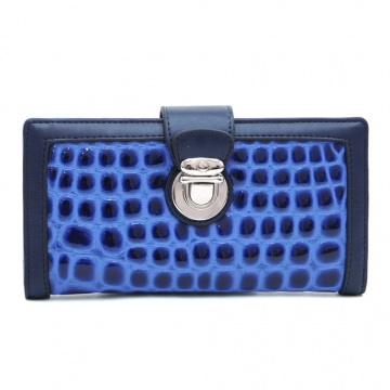 Dasein Fashion Patent Croco Bi-fold Checkbook Wallet with Buckle Accent-Blue