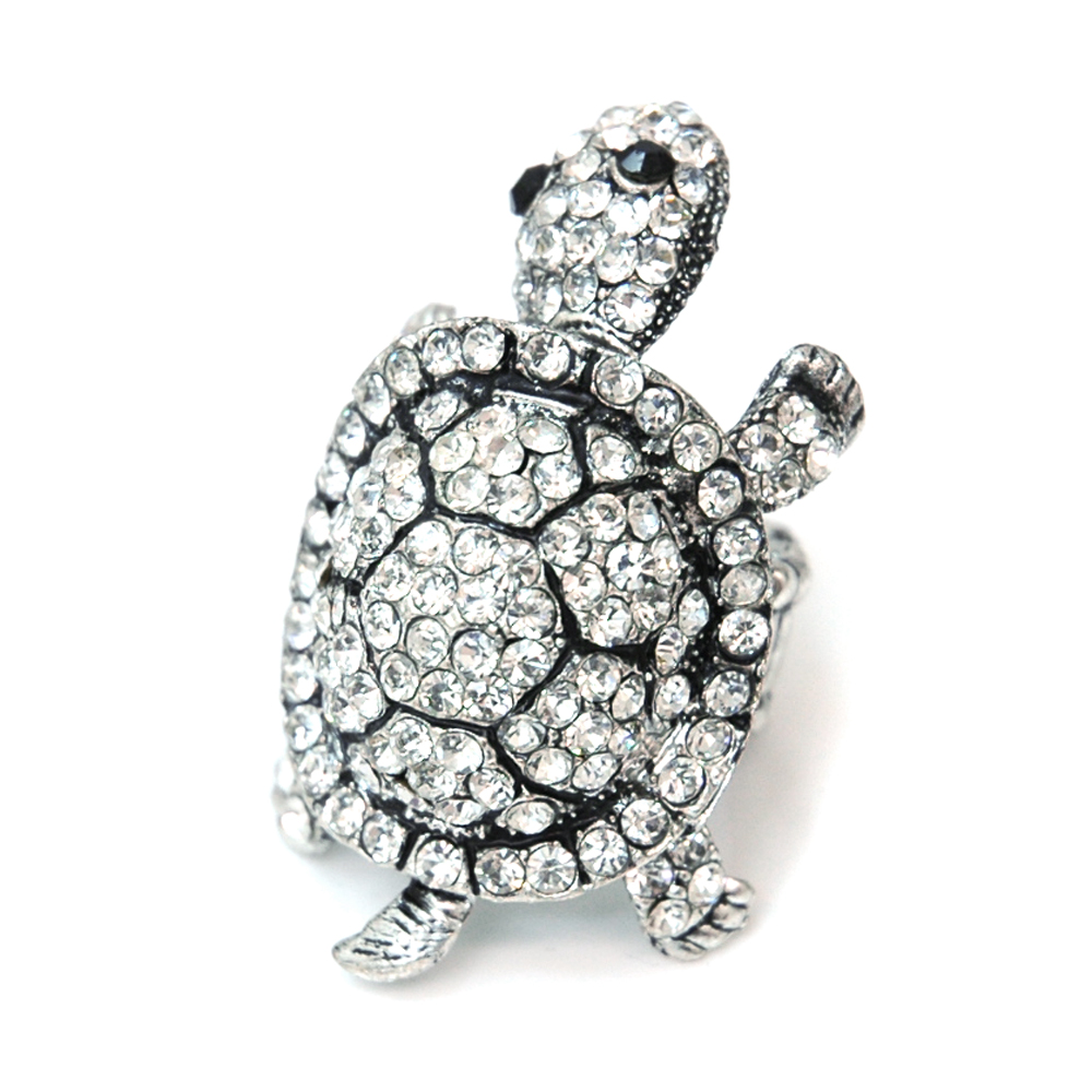 Rhinestone Embellished Turtle Ring with Elastic Ring Band-Clear