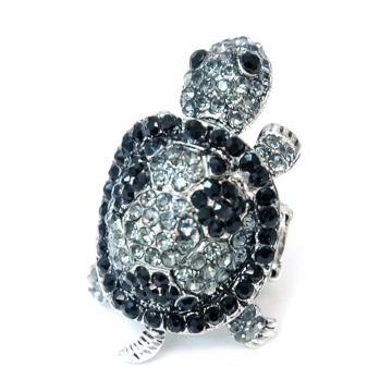 Rhinestone Embellished Turtle Ring with Elastic Ring Band-Black