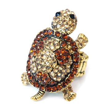Rhinestone Embellished Turtle Ring with Elastic Ring Band-Gold