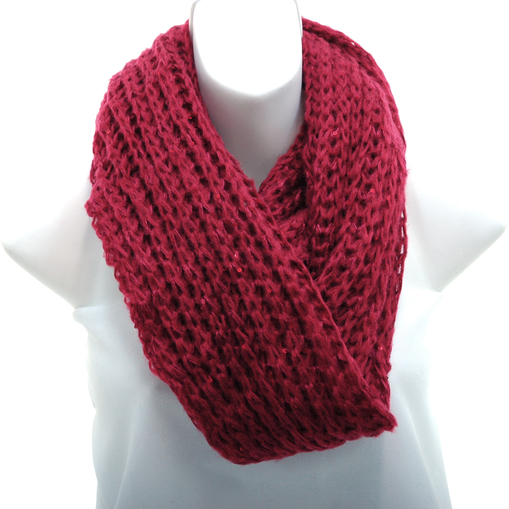 Fashion Knitted Loop Scarf with Hints of Sequins