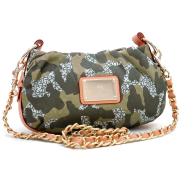 Anais Gvani ® Fashion Petite Camouflage Style Cross Body/Shoulder Bag with Camel Trim-Dark Green