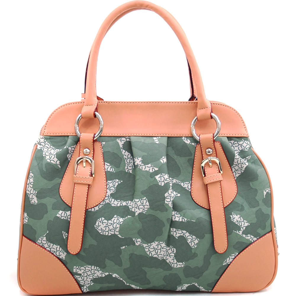 Anais Gvani ® Large Camouflage Satchel with Logo Charmed Tassel and Studded Accent-Light Green