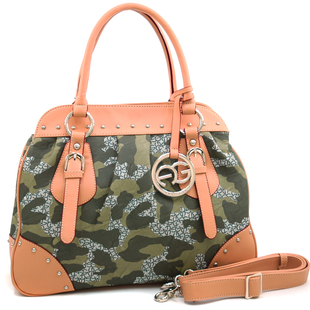 Anais Gvani ® Large Camouflage Satchel with Logo Charmed Tassel and Studded Accent-Dark Green