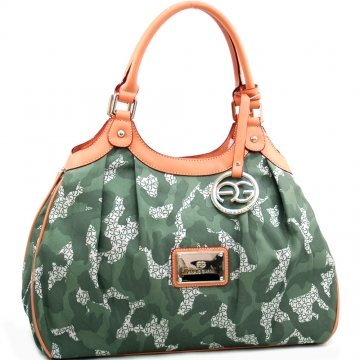 Anais Gvani ® Women's Camouflage Style Shoulder Bag with Gold Logo Charmed Tassel-Light Green