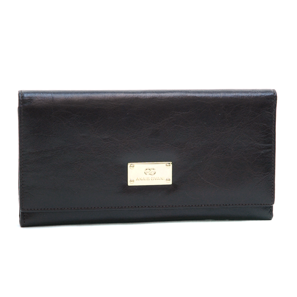 Anais Gvani Women's Classic Smooth Genuine Italian Leather Tri-Fold Wallet-Deep Coffee