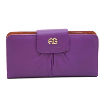 Anais Gvani Women's Pleated Bi-fold Genuine Leather Wallet with Checkbook Cover-Purple/Grey