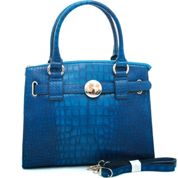 Anais Gvani ® Women's Croco Accented Chic Belted Tote with Bonus Shoulder Strap-Blue