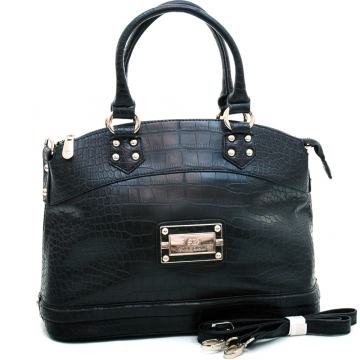 Anais Gvani ® Women's Croco Accented Chic Logo Adorned Tote with Bonus Shoulder Strap-Black