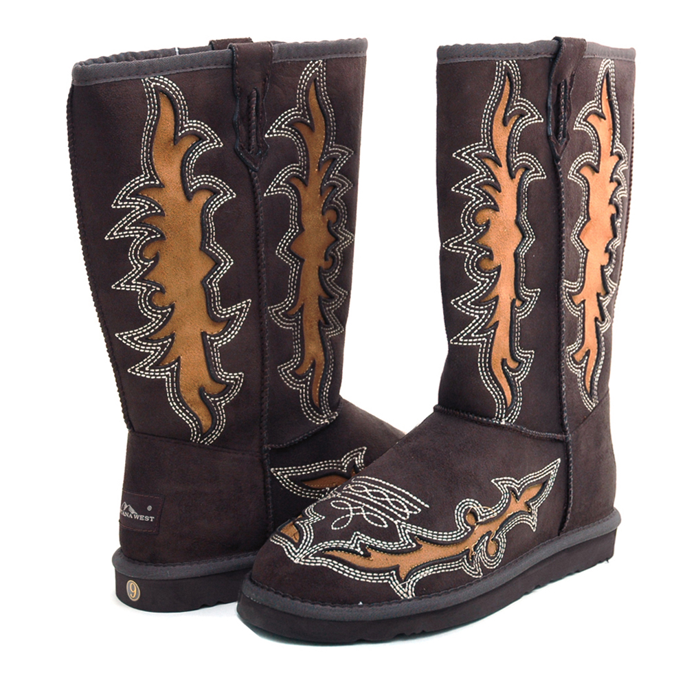 Montana West Women's Western Style Boots with Embroidery & Rustic Cut-Out Design-Coffee
