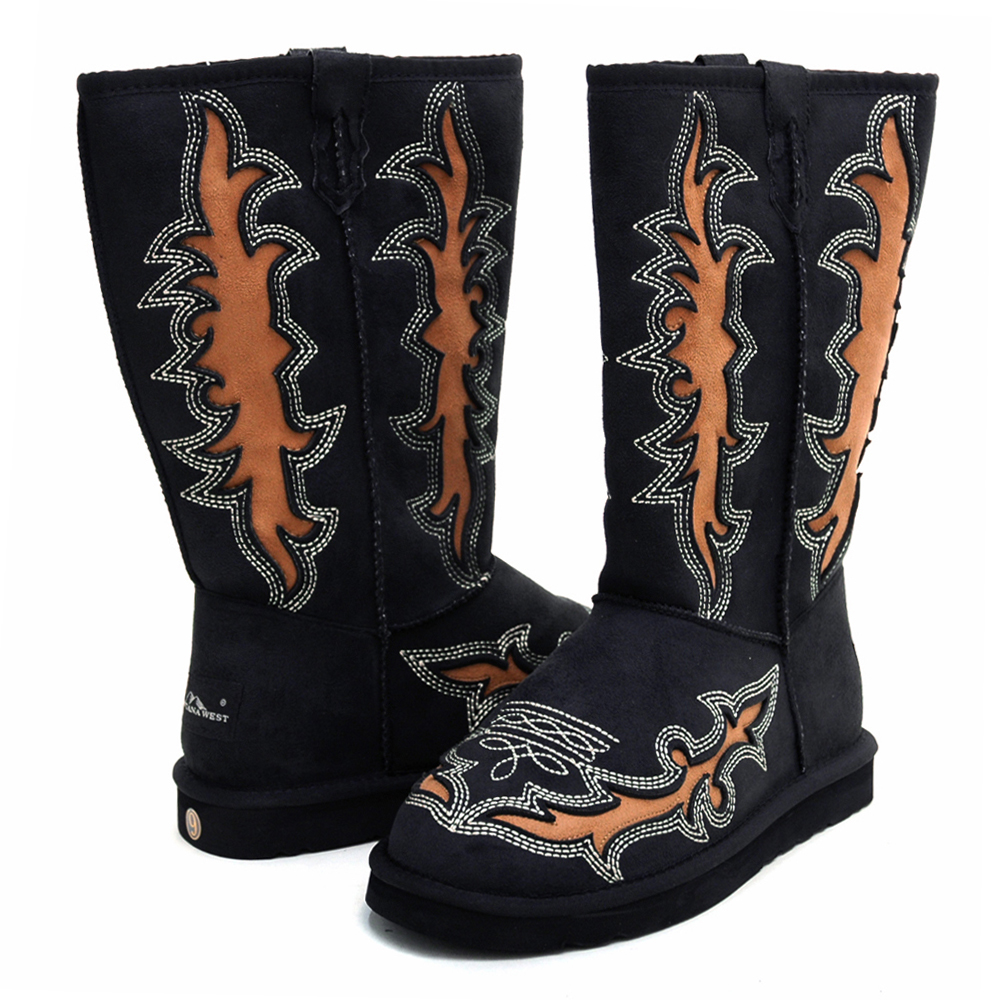 Montana West Women's Western Style Boots with Embroidery & Rustic Cut-Out Design-Black