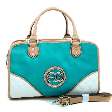 Anais Gvani ® Women's Fashion Multicolored Logo Satchel with Studded Accents-Turquoise/Tan/White