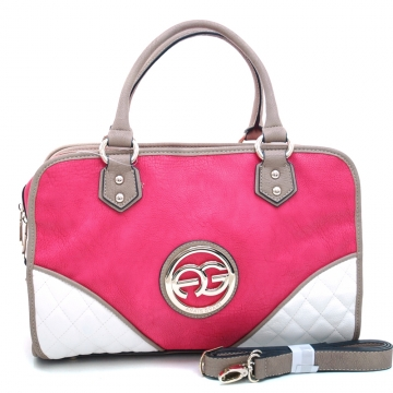 Anais Gvani ® Women's Fashion Multicolored Logo Satchel with Studded Accents-Pink/Taupe/White