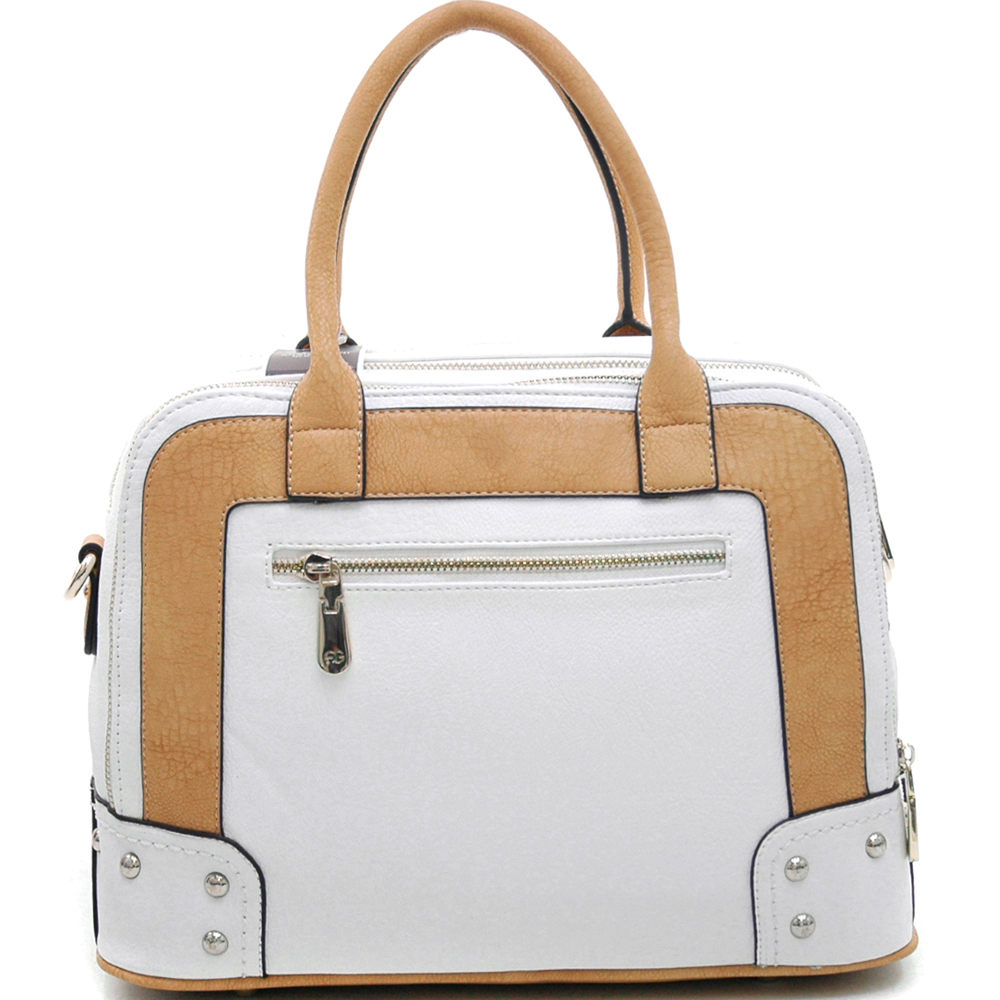 Anais Gvani ® Women's Multicolored Logo Satchel with Belted Accents-White/Tan/Taupe