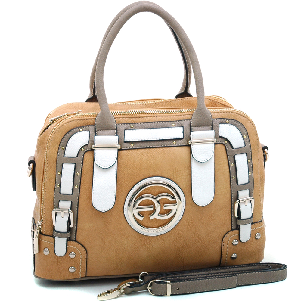 Anais Gvani ® Women's Multicolored Logo Satchel with Belted Accents-Tan/Taupe/White