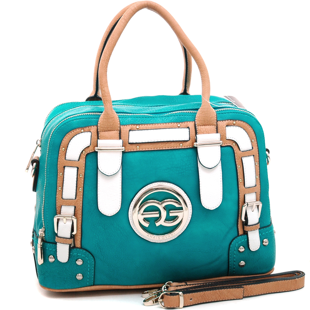 Anais Gvani ® Women's Multicolored Logo Satchel with Belted Accents-Turquoise/Tan/White
