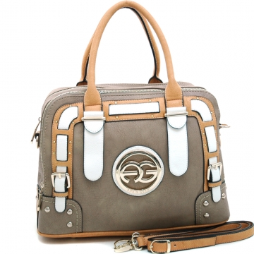 Anais Gvani ® Women's Multicolored Logo Satchel with Belted Accents-Taupe/Tan/White