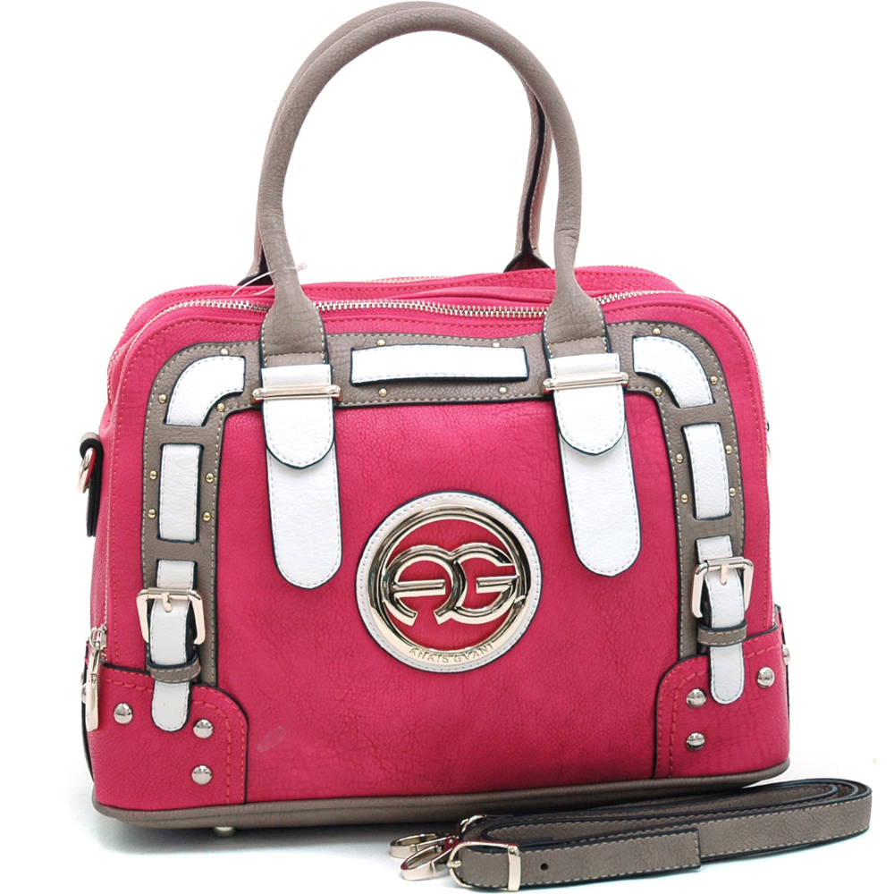 Anais Gvani Women's Multicolored Logo Satchel with Belted Accents-Pink/Taupe/White