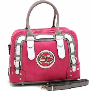 Anais Gvani ® Women's Multicolored Logo Satchel with Belted Accents-Pink/Taupe/White