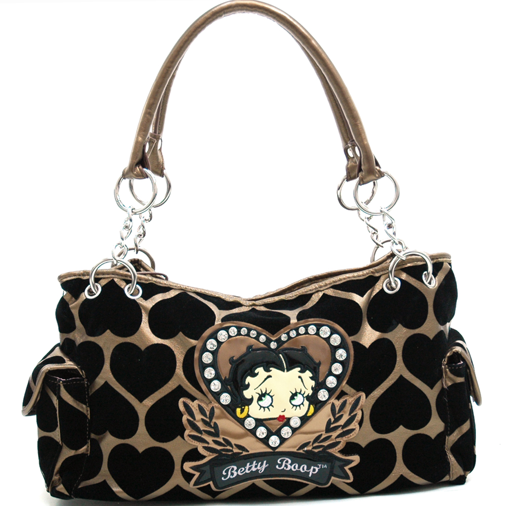 Betty Boop® Shoulder Bag with Velvet Heart Montage & Rhinestone Decor-Bronze