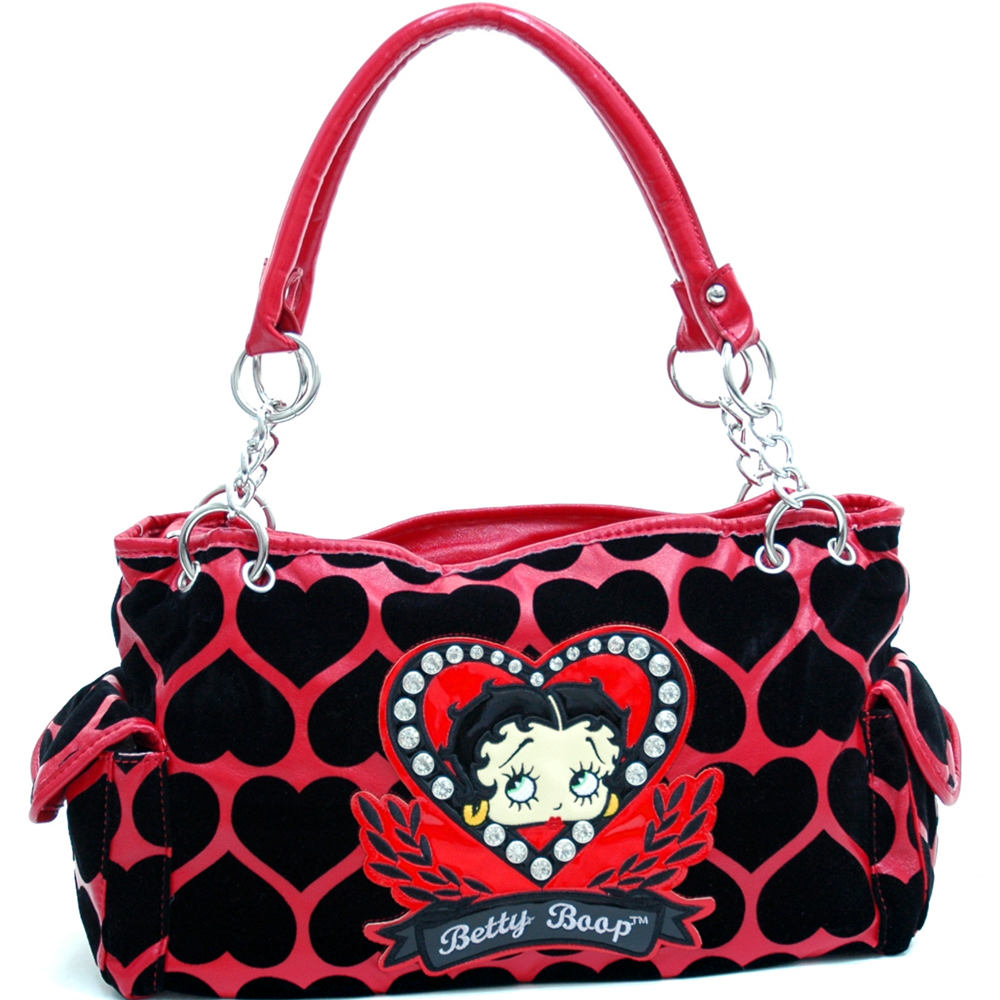 Betty Boop® Shoulder Bag with Velvet Heart Montage & Rhinestone Decor-Red