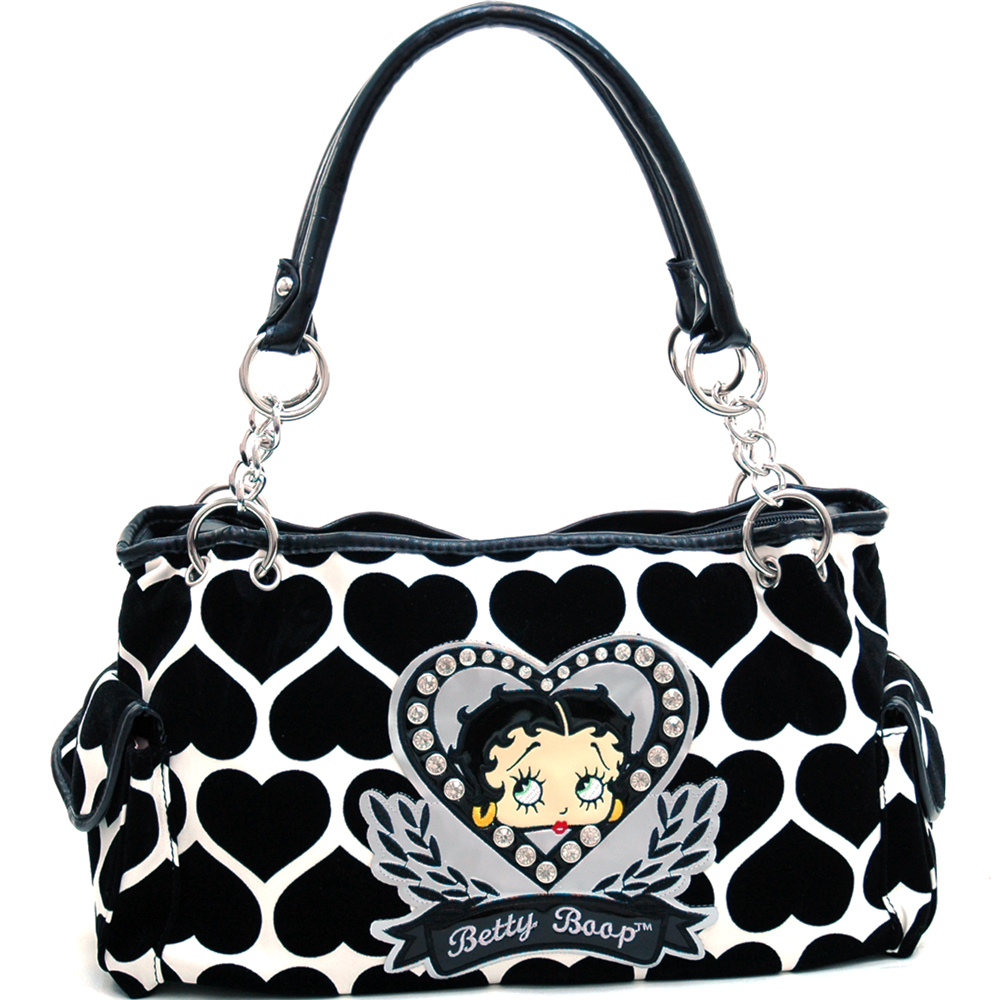 Betty Boop® Shoulder Bag with Velvet Heart Montage & Rhinestone Decor-White