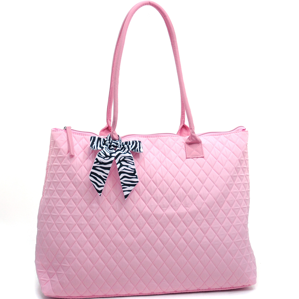 Quilted Oversized Tote With Zebra Print Bow Tie