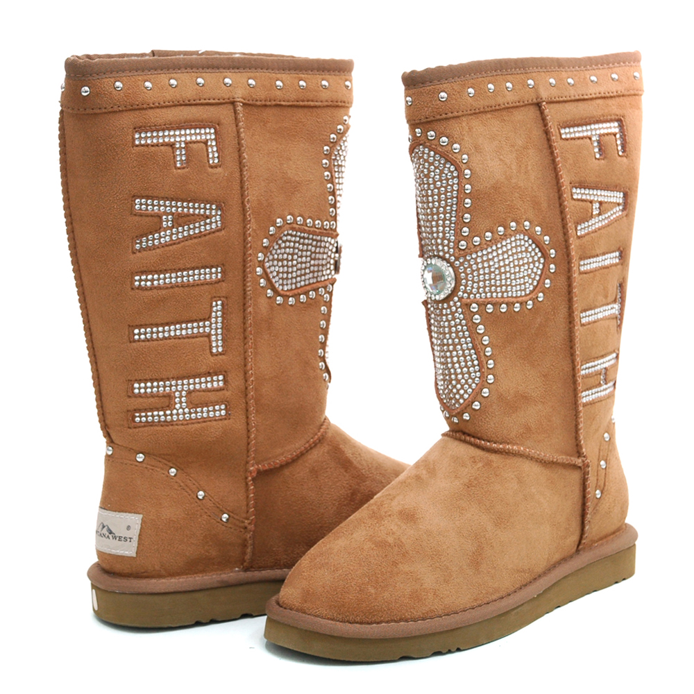 Montana West Women's Western Style Winter Boots with Cross & Faith Embellishment-Tan
