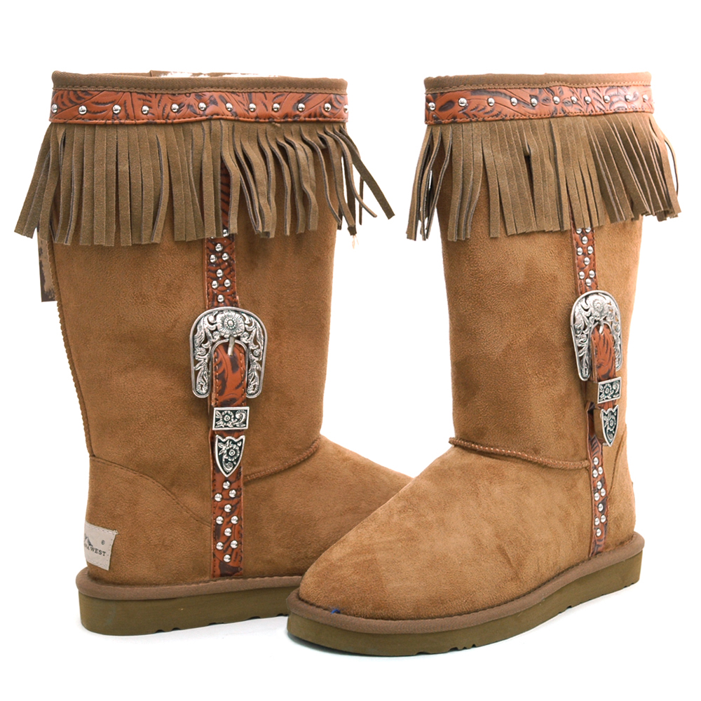 Montana West Women's Fashion Fringed & Belted Winter Boots-Tan