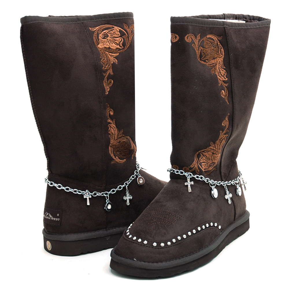 Montana West Women's Fashion Western Style Winter Boots with Anklet Accent-Coffee