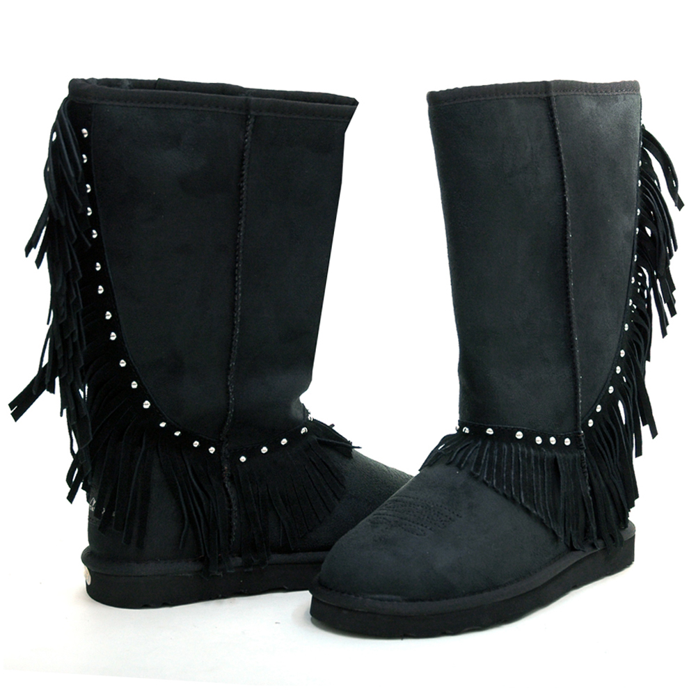 Montana West Women's Fringed Winter Boots with Stylish Stud Accents-Black