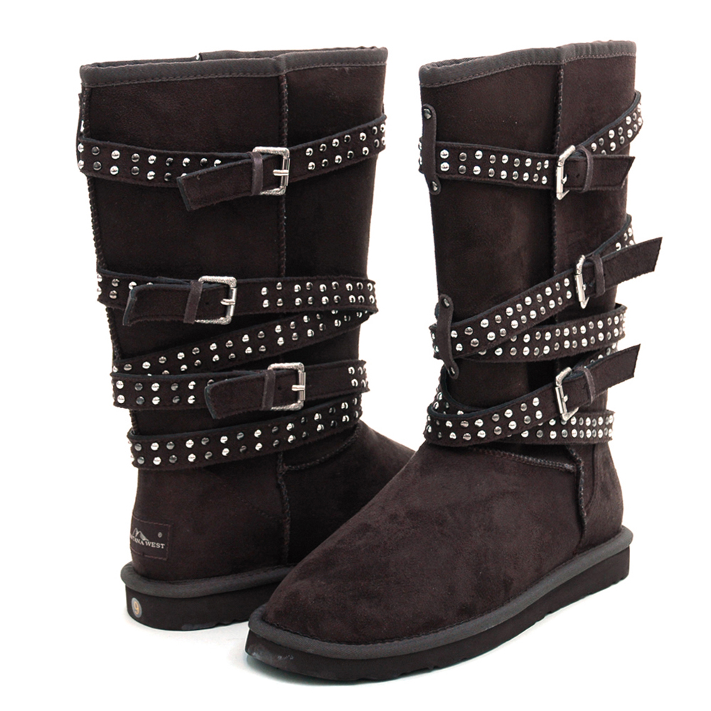 "Montana West ""Straight Jacket"" Winter Boots with Special Stud & Buckle Accents-Coffee"