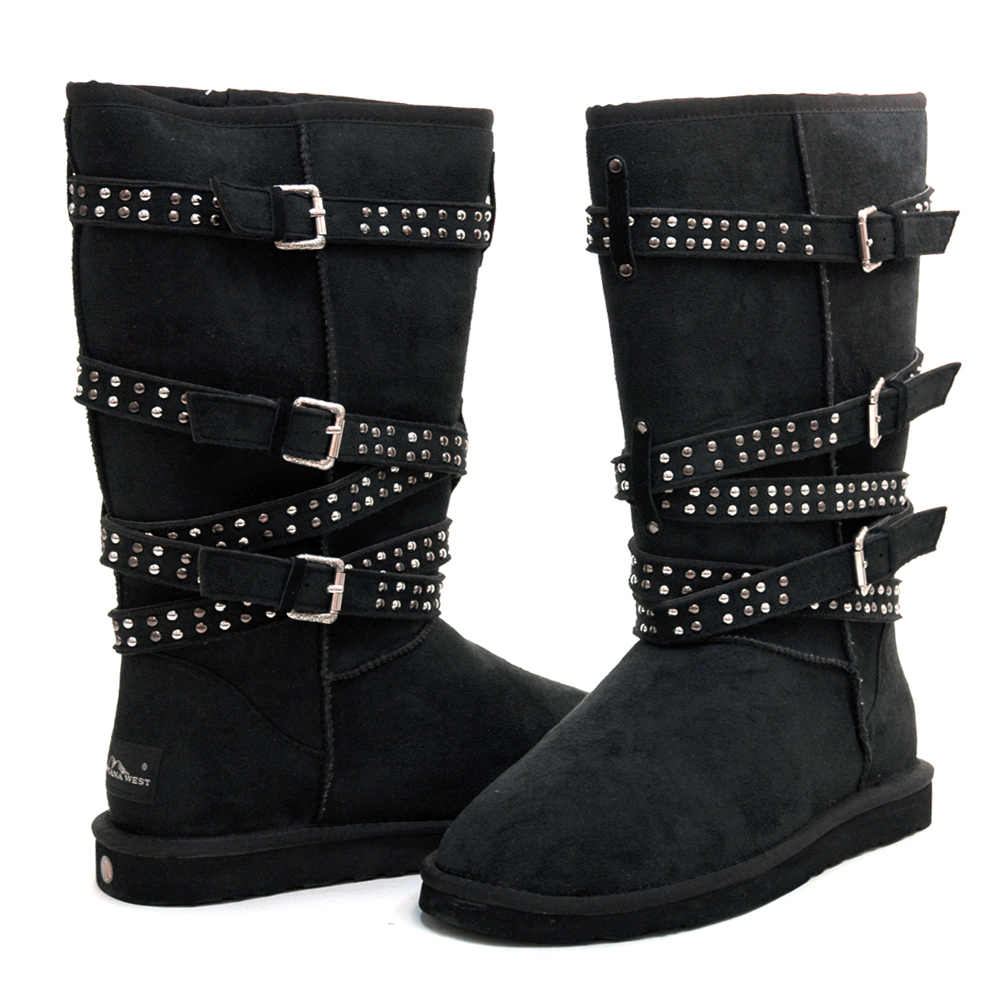"Montana West ""Straight Jacket"" Winter Boots with Special Stud & Buckle Accents-Black"