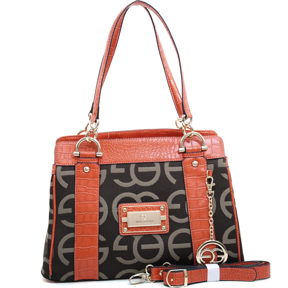 Anais Gvani ® Women's Sophisticated Shoulder Bag with Croco Trim & Logo Monogram-Coffee/Orange