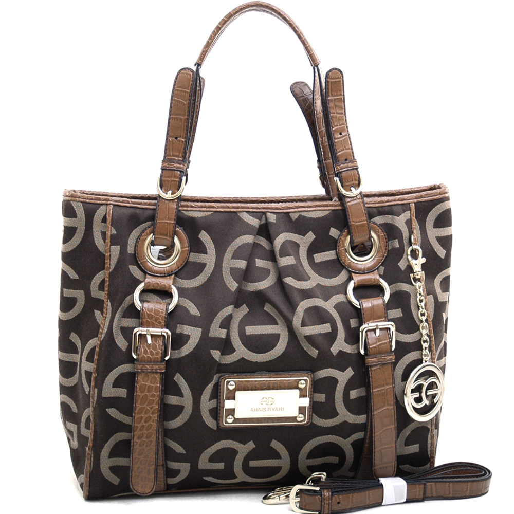 Anais Gvani Women's Sophisticated Tote Bag with Croco Trim & Logo Monogram - Coffee/Coffee
