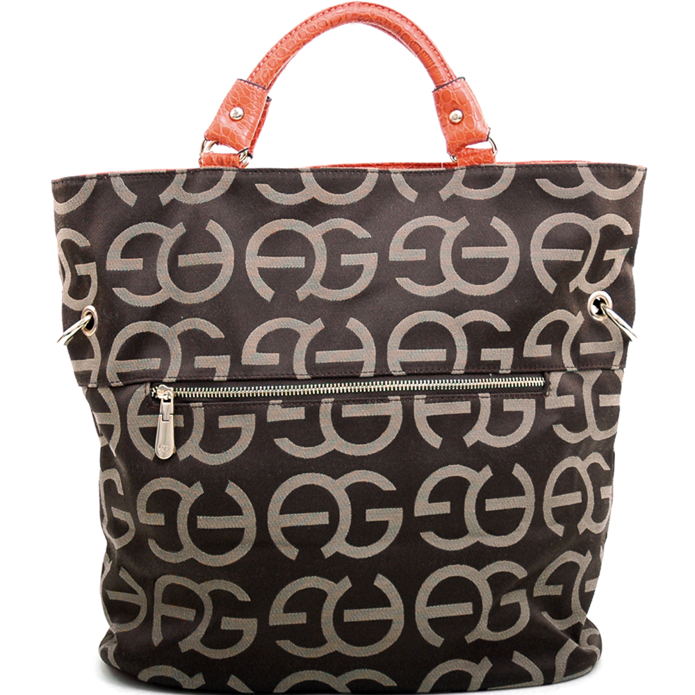 Anais Gvani Women's Tall Sophisticated Tote Bag with Croco Trim & Logo Monogram - Coffee/Orange