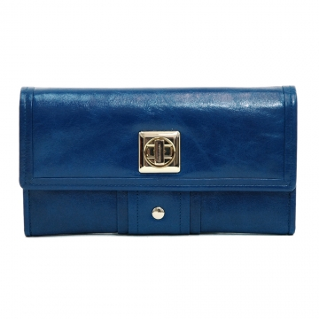 Anais Gvani ® Women's Genuine Italian Leather Gold-Studded Checkbook Wallet - Blue