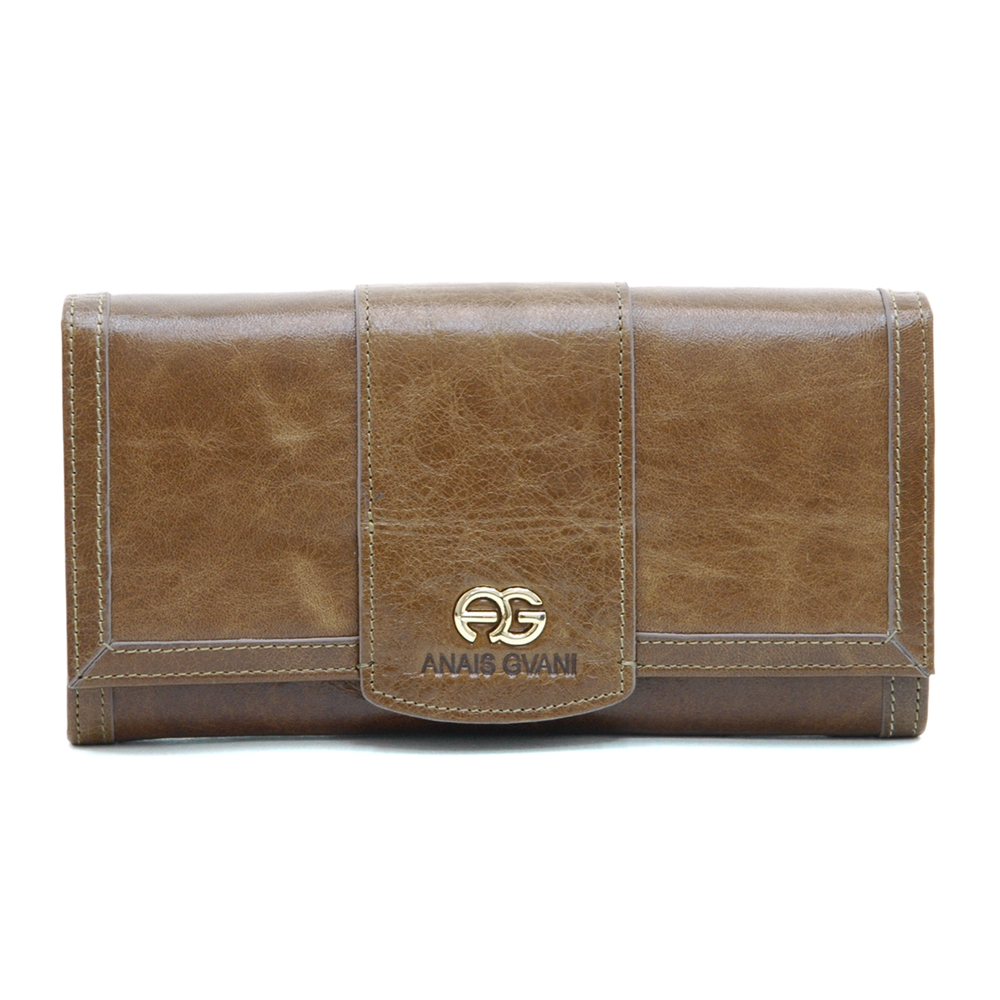 Anais Gvani® Bronx Park Gold Logo Genuine Leather Wallet