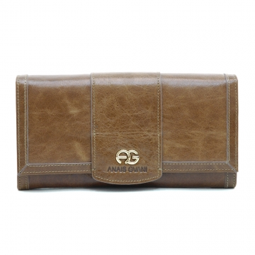 Anais Gvani ® Women's Classic Smooth Genuine Leather Tri-Fold Wallet with Gold Logo Accent - Brown