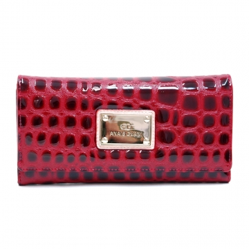 Anais Gvani ® Women's Classic Croco Embossed Checkbook Wallet - Red