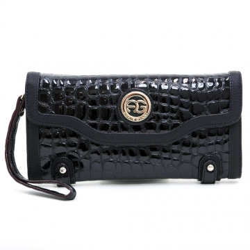Anais Gvani ® Women's Croco Embossed Clutch Style Wallet with Detachable Wristlet - Black