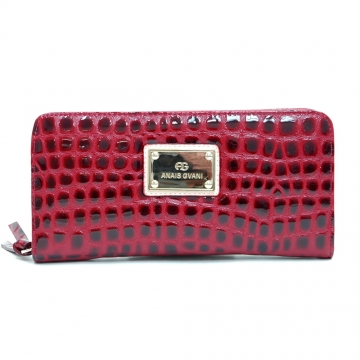 Anais Gvani ® Classic Croco Embossed Zip-Around Wallet-Red
