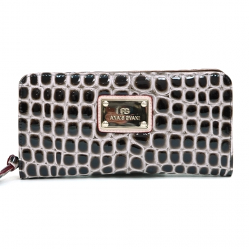 Anais Gvani ® Classic Croco Embossed Zip-Around Wallet-Coffee