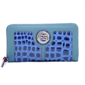 Anais Gvani ® Croco Embossed Zip-Around Wallet with Round Logo Emblem-Blue