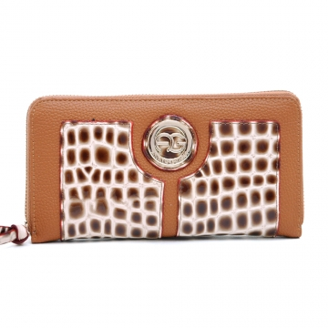Anais Gvani ® Croco Embossed Zip-Around Wallet with Round Logo Emblem-Beige/Brown